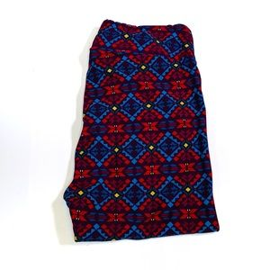 LuLaRoe Tall Curvy Soft Brown Blue Aztec Leggings